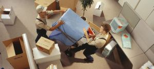 Movers moving office equipment