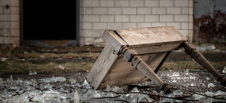 A broken table - residential movers Birmingham AL