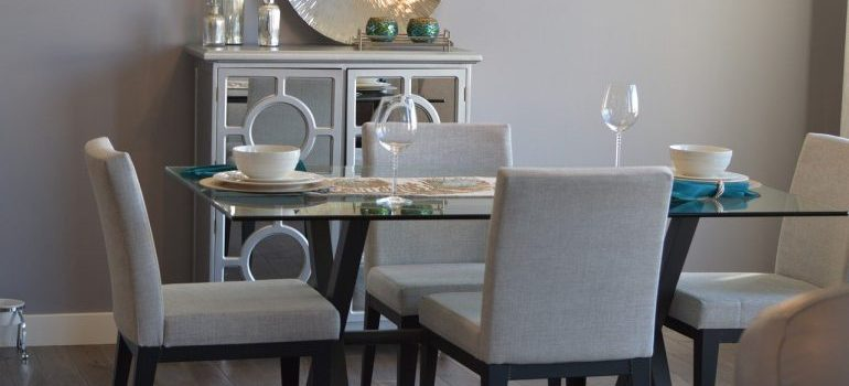 A set dinning room table.