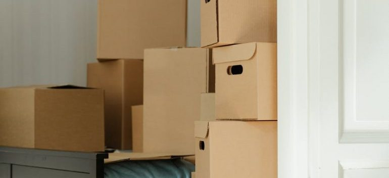cardboard boxes in a room