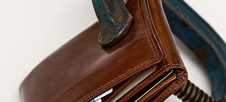 a wallet representing a moving budget