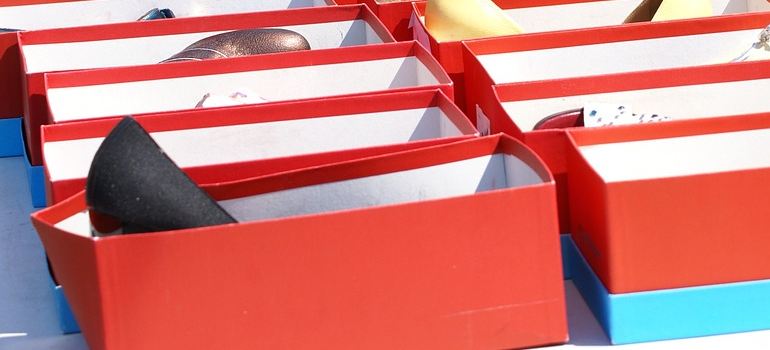 shoe boxes you can use when you want to pack your book collection for storage