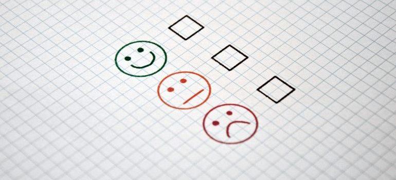Emoticons next to squares representing a checklist