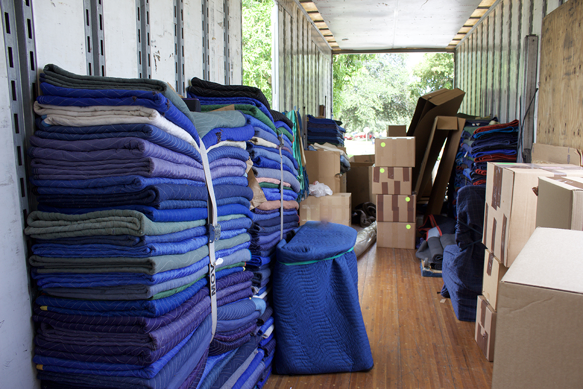 Photo of moving blankets inside a commercial office building commercial moving birmingham